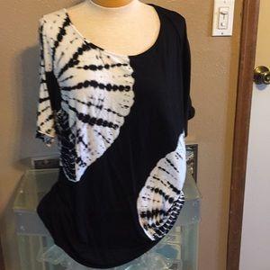 Bellini tie-Die and rhinestones blouse, XL